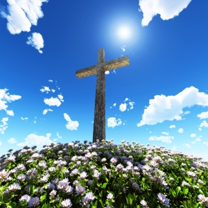 Cross on Flowered Hill Small